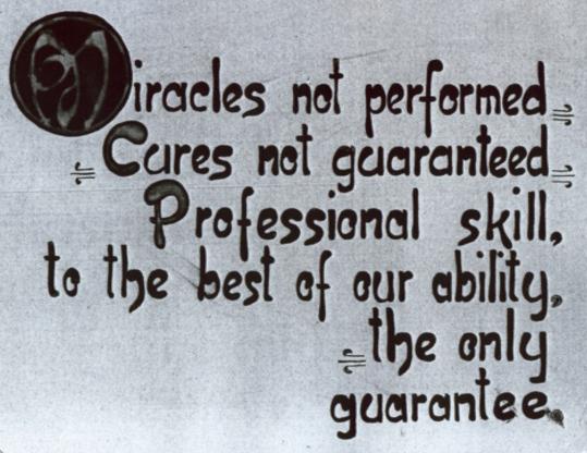 I miracoli non vengono fatti, La guarigione non è garantita. La bravura professionale, al meglio della nostra abilità, È l'unica garanzia. (W. G. Sutherland D.O.)